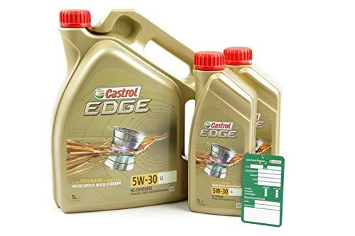 2 x 1 l + 5 l = 7 litres d huile moteur Castrol Edge Fluid Titanium 5W-30 LL avec Support de vidange d'huile Castrol.