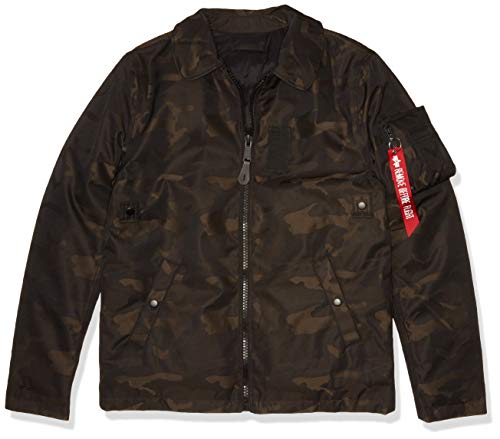 ALPHA INDUSTRIES Herren B-15 DOWN Straight Hem MOD Jacquard Flight Jacket Jacke, Schwarz-Camo, Small