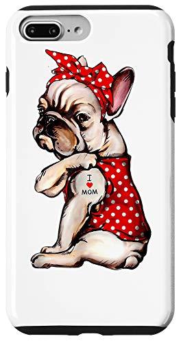 iPhone 7 Plus/8 Plus mom-I Love Mom Tattoo French Bulldog Dog Wearing Bandana Case
