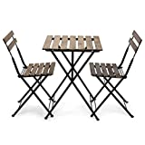 EventStable French Bistro Folding Table and Chair Set - Durable Folding Wood Table Bistro Set - Bistro Patio Set for Outdoor Garden Backyard Porch