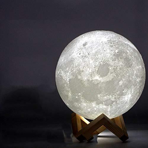 Wiederaufladbare 3d Print Moon Lampe 2 Farbwechsel Touch Schalter Schlafzimmer Bücherregal Nachtlicht Wohnkultur Kreatives Geschenk 20 Cm