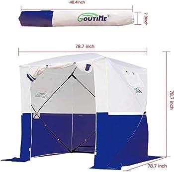 Goutime Tentes instantanées,2x2m Imperméable Barnum Pliant de Camping,Multifonction Tentes D'ActivitéS Blanc et Bleu