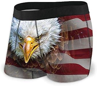 Eagle On American Flag Ropa Interior para Hombre Calzoncillos Tipo bóxer Sin Calzoncillos Ajustables Talla L