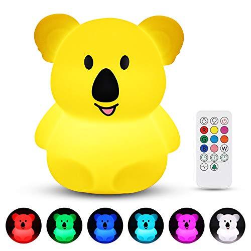Veilleuse Enfant, Redmoo Veilleuse Led Silicone Lampe de Chevet avec Télécommande, Contrôle Tactile USB Rechargeable RGB Multicolor Dimmable pour La Chambre et Salon - Koala