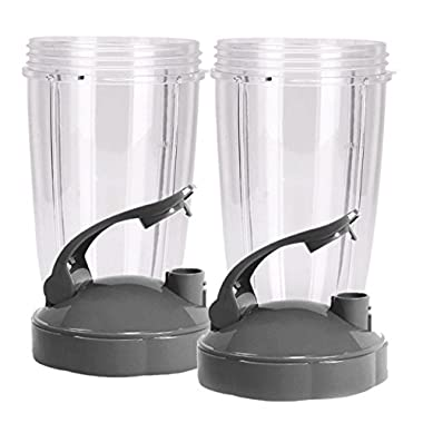 Preferred Parts Tall Replacement Cups for NutriBullet High-Speed Blender/Mixer | 24 oz Nutribullet Cup with Flip Top To-Go Lid (Pack of 2)