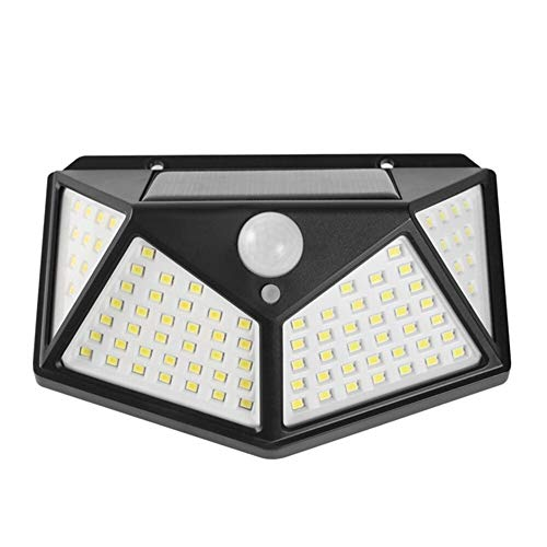 Leslaur 100LED Solar Wall Light Motion Sensor Light Human Body Induction Lamp Outdoor Lighting for Pathway Yard Garden Courtyard Solar Lights Outdoor for Gardens Courtyards Balcon (Color : White)