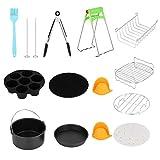 NITRIP 7in Universal 12pcs Kits de freidora de Aire Caliente de Acero Inoxidable Negro + Plata con Accesorios para Canasta de Pastel