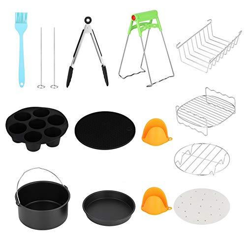 7in Universal 12Pcs Kits de freidora de aire caliente Kit de accesorios de cocina con taza de pastel Accesorios de cesta de pastel, menos aceite, menos grasa