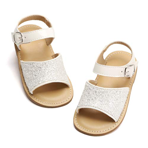 Toddler Girl White Sandals - Little Kids Easter Dress Shoes Size 7 for Summer Flower Girl Party Wedding School Flats
