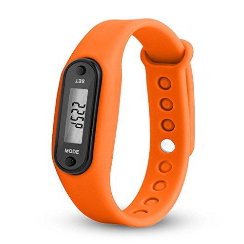 Reloj que cuenta los pasos de WANGLAI, pulsera de gel de sílice, con podómetro, contador de calorías, pantalla digital LCD (de cristal líquido), mide el recorrido que haces a pie