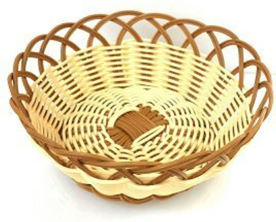 Natural and Brown Color Poly Woven Bread Basket (Round 8.75