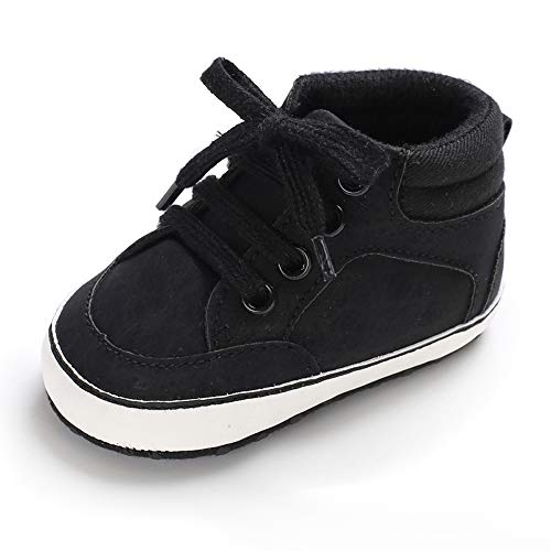 Baby Girls Boys Canvas Shoes Soft Sole Toddler First Walker Infant High-Top Ankle Sneakers Newborn Crib Shoes (6-12 Months, PU-Black)