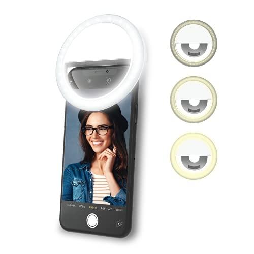 DigiPower Selfie Licht Handy, 28 LED Ringlicht, 3 Helligkeitsstufen, Fernbedienung, USB wiederaufladbare Ringleuchte, für Smartphones, Live- Streaming, Make-Up, YouTube, TikTok und Vlogging