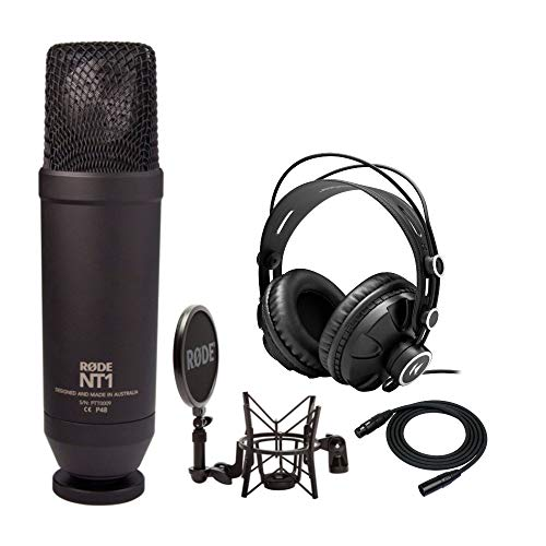 Rode NT1-KIT Cardioid Condenser Bundle with Knox Gear Closed-Back Studio Monitor Headphones and 25-Foot XLR Cable (3 Items)
