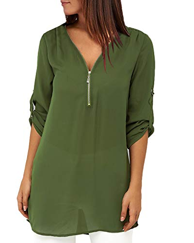YOINS Sexy Oberteil Damen Sommer Elegante Langarmshirts Damen Bluse Tunika Frühling T-Shirt V-Ausschnitt Tops EU32-34 Grün-lange