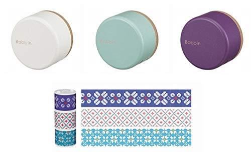 コクヨ ボビンテープ専用カッター付きケース3色3個とボビンテープ(ニット柄)3個入