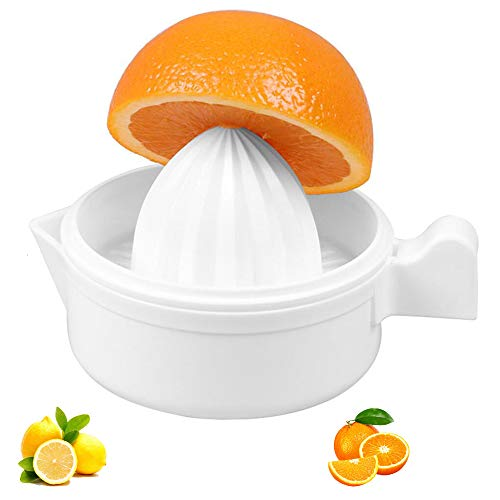Manual Lemon Squeezer,Orange Juice Squeezer, Citrus Orange Manual Hand Juicer Lid Rotation Press Anti-Slip Reamer with Strainer,Non-Slip Silicone Handle,White Color