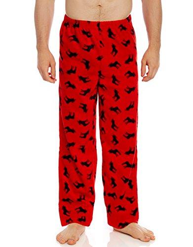 Leveret Mens Pajama Pants Fleece Lounge Sleep Pj Bottoms (Moose, X-Large)