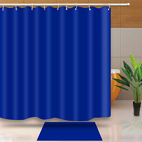 Classic Royal Blue Shower Curtain Waterproof Thicken Heavy Duty Polyester Fabric Set with Hooks, Weight Hem, 72 X 72 Inches, LHNT330-72