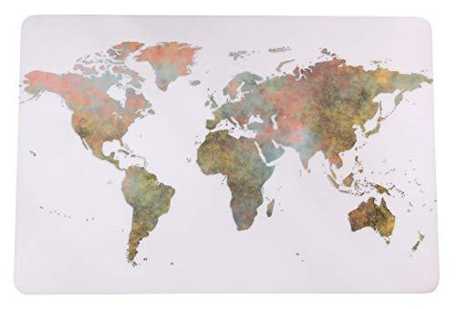 Schreibtischunterlage Kontinente auf weißem Grund/Welt/Weltkarte/Erde 40 x 60 cm abwischbar