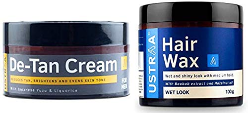 Ustraa De-Tan Cream for Men (50g) And Ustraa Hair Wax for wet look - 100gm