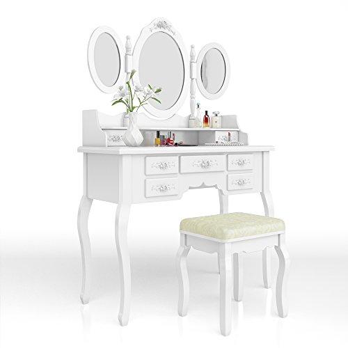 Vicco Schminktisch Queen Rose Weiß inklusive Hocker und Lichterkette - Kosmetiktisch Frisierkommode Barock Stil Frisiertisch Spiegel