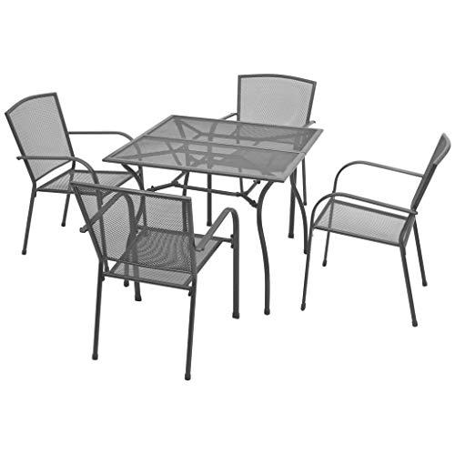 vidaXL Bistroset 5-TLG. Streckmetall Gartengarnitur Sitzgruppe Gartenmöbel