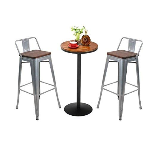 Changjie Furniture Industrial Metal Bar Stool for Indoor Kitchen Low Back Barstools Counter Bar Stools Set of 4 (30 inch, Silver)