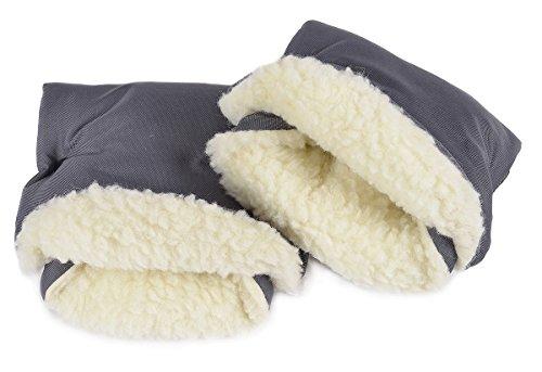 Handmuff Muff mit Fleece Innenseite Handwärmer für Herbst und Winter Lammwolle Graphit [073]