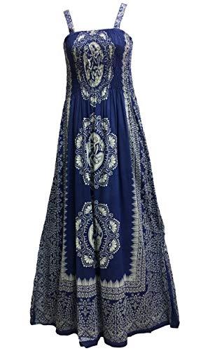 Yoga Trendz Celtic Print Sleeveless Bohemian Summer Long Maxi Dress (Royal Blue #9)