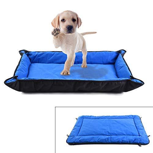 NSSONBEN Cama para mascotas, colchoneta para perros, algodón lavable, sofá para perros medianos y grandes, azul y negro, 95 x 62 cm