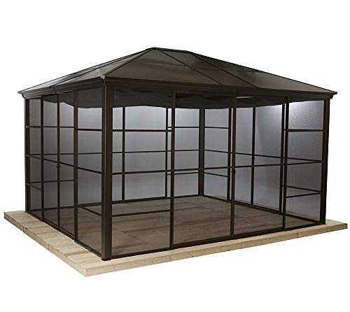 Sojag Aluminium Pavillon Überdachung Gazebo Castel 12x14 // 427x362 cm (BxH) // Sommer-Pavillon und Gartenlaube mit Hard-Top Dach