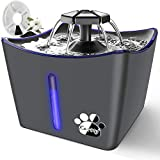 Kitty Water Fountain, Large Pet Water Fountain, Whisper Quiet 3L/101oz Dog Cat Water Fountain, Automatic Cat Water Dispenser with LED Light, 1 Coconut Shell Activated Carbon Filter, Gray