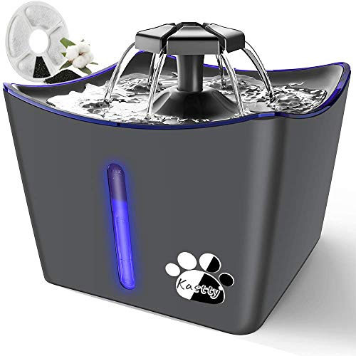 Kitty Water Fountain, Large Pet Water Fountain, Whisper Quiet 3L/101oz Dog Cat Water Fountain, Automatic Cat Water Dispenser with LED Light, 1 Coconut...