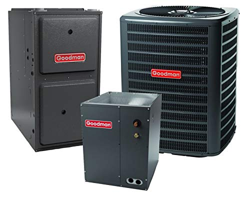 Goodman 13.0 SEER 2.5 TON Complete Split air Conditioning System with Furnace (GSX130301 CAPF3030B6 GMEC960403AN)+Accessories - Whip, Disconnect, Condenser pad and Thermostat