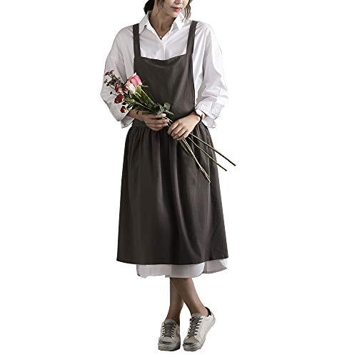 LGH Delantal de algodón Lino de Estilo literario de algodón Adecuado para la Ropa de Trabajo de la cafetería de la Tienda de Flores de la Cocina