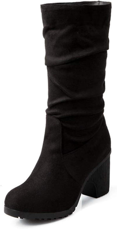NOMIMAS Women's Block Mid-Calf Boots Thick Round Toe shoes Flock Elegant Platform High Heels Classic