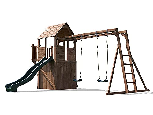 Wooden Playhouse Climbing Frame Children's Play Tower