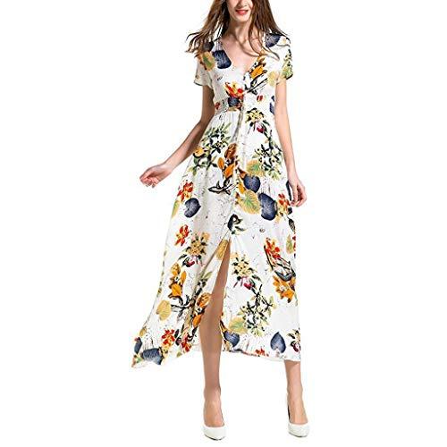 MRULIC Damen Ballkleider Blumendruck Button Up Slim-fit Flowy Party Maxikleid Party Kleider...
