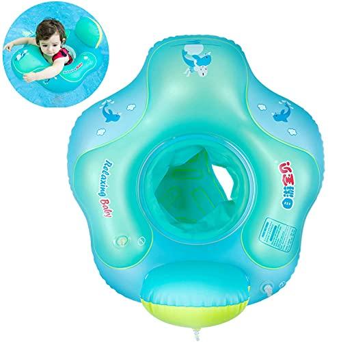Myir Schwimmring Baby mit Rückenlehne, Aufblasbare Baby Schwimmsitz Schwimmhilfe Swimtrainer Schwimmtrainer Kinder Kleinkind Schwimmreifen Float (Blau, S, 3 Monate-18 Monate)