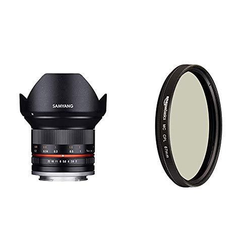 Samyang 12mm F2.0 Objektiv für Anschluss Sony E - schwarz & Amazon Basics Zirkularer Polarisationsfilter - 67mm