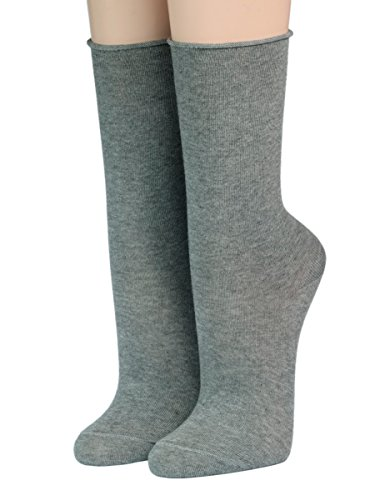 CRÖNERT Socken Longsocks Söckchen mit Rollrand uni einfarbig 18600 (39/42, mittelgrau 2682)