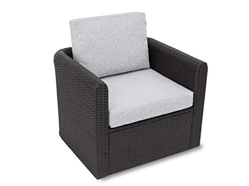 Kissen Set für Rattan / Korbsessel, Rückenlehne Sitz, Sitzkissen Outdoor Sitzpolster Gartenstuhl , Sitzauflage Rattan-Stuhl, 60x55x40 cm - Aschegrau