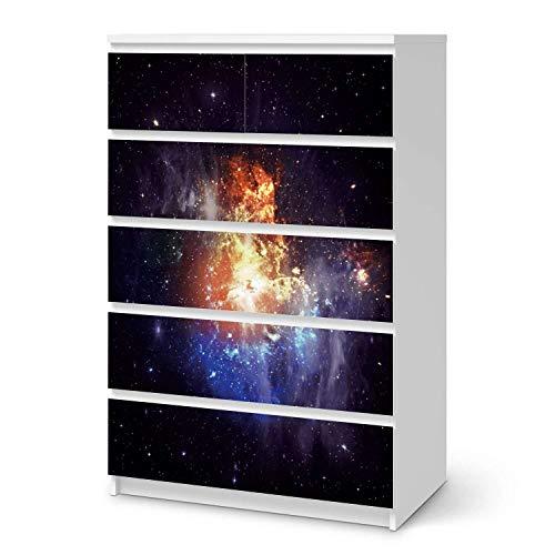 creatisto Möbel Klebefolie passend für IKEA Malm Kommode 6 Schubladen (hoch) I Möbelsticker - Möbel-Aufkleber Folie Tattoo I Wohndeko für Wohnzimmer und Schlafzimmer - Design: Nebula