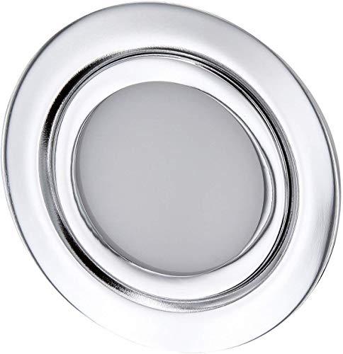 LED Slim Möbel Einbaustrahler Vollmetall IP44-12V MINI-AMP - chrom-glänzend - passend in Unterputz-Dose Ø 60mm - warmweiß (3000 K)