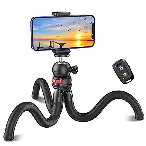 Cocoda Treppiede Smartphone, Cavalletto per Smartphone Portatile Flessibile con Telecomando Bluetooth e Clip, Mini Selfie Stick Treppiede per Riprese Vlogging, Compatibile con iPhone Fotocamera GoPro