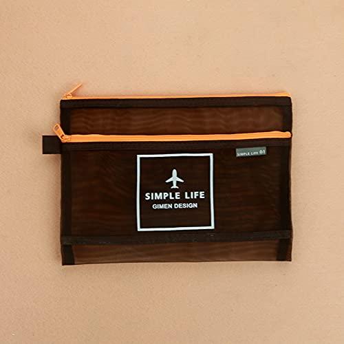 Shiwen Bolsa de almacenamiento con cremallera transparente para archivos, rejilla para estudiantes, color marrón A5