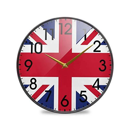 Bandera británica Union Jack Londres Inglaterra Reloj de Pared Redondo Funciona con Pilas Cuarzo silencioso sin tictac para el hogar Sala de Estar Oficina Cocina Dormitorio