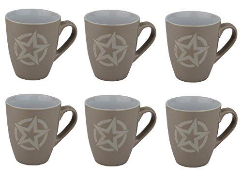 Kaffeetasse 6er Set - Star / Sterne Design - Tasse mit ca. 210ml (Hell-Braun)