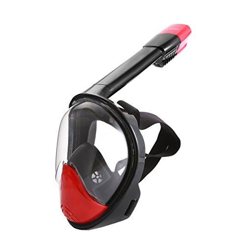 Easy Breath Full Face Schnorchelmaske- LUOOV 180 Seaview Tauchmaske mit längerem Schnorchelrohr mit GoPro Mount, Anti Fog und Anti Leck für Erwachsene und Kinder (Schwarz Rot, S-M)